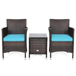 Outdoor 3 PCS Sets Chairs Coffee Table Garden light sun proo