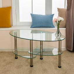 Oval Glass Chrome Coffee Table Side Table w/ Shelf Living Ro