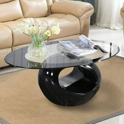 Oval Glass Coffee Table with Round Hollow Base End Side Coff