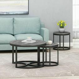 Pia Modern Industrial Coffee Table Set