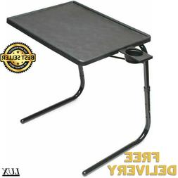 Portable Foldable Table With Cup Holder Adjustable Coffee Tr