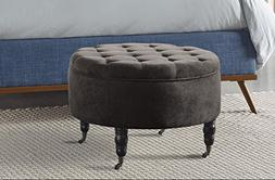 Elle Decor Quinn Round Tufted Ottoman with Storage and Caste
