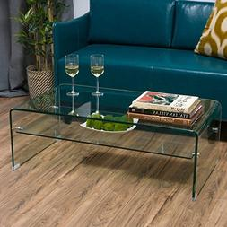 Ramona Glass Rectangle Coffee Table with Shelf by Christophe