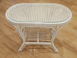Rattan Natural Wicker Handmade Oval Coffee Table With Glass