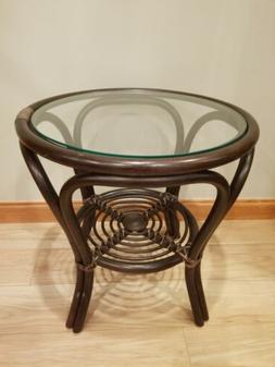 Rattan Natural Wicker Handmade Round Small Coffee Table With