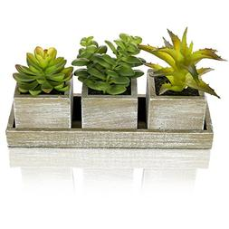 MyGift Set of 3 Realistic Artificial Succulent Plants w/Rust