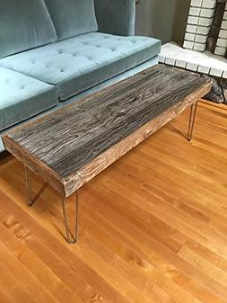 "46""x16"" Reclaimed Barn Wood Coffee Table with Vintage Steel"