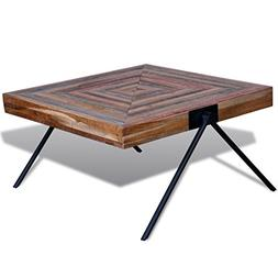 Festnight Square Coffee Side Table Solid Reclaimed Teak Wood