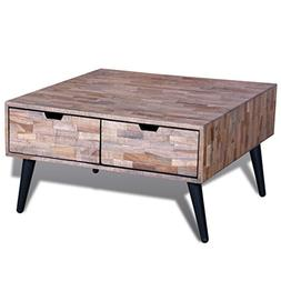 Festnight Reclaimed Teak Coffee Side Table with 4 Drawers