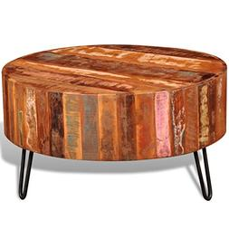 Festnight Reclaimed Wood Round Coffee Table with Iron Legs P