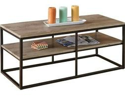 "Walker Edison Rectangle Coffee Table 42"" with Metal Base, Ma"