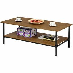 Rectangle Coffee Table Metal Frame Accent Cocktail Table wit