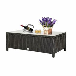 Rectangle Garden Rattan Wicker Glass Coffee Table Tea Table