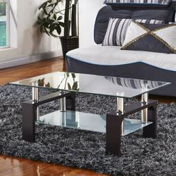 Mecor Rectangle Glass Coffee Table Chrome Bars Wood Legs wit