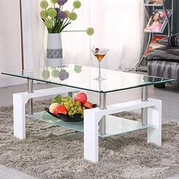 Mecor Rectangle Glass Coffee Table-White Modern Side Coffee