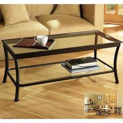 Rectangular Coffee Table with Metal Frames in Dark Bronze Fi