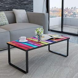 Festnight Glass Top Coffee Table with Iron Frame Rainbow Pri