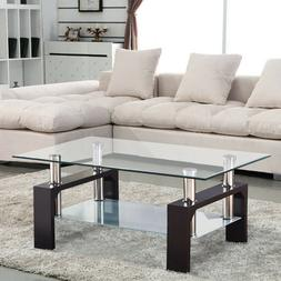 Rectangular Glass Coffee Table Shelf Chrome Walnut Wood Livi