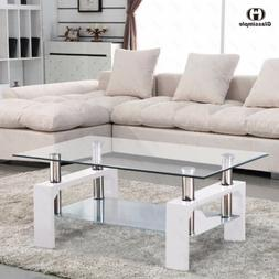 Rectangular Glass Coffee Table Shelf Chrome White Wood Livin