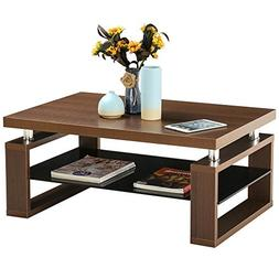 Yaheetech Living Room Rectangular Wood Top Coffee Tables & C