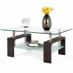 rectangular tempered glass coffee table w shelf