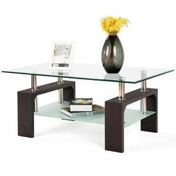 Rectangular Tempered Glass Coffee Table End Side Table with