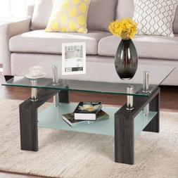 Rectangular Tempered Glass Top Coffee Table with Shelf Wood
