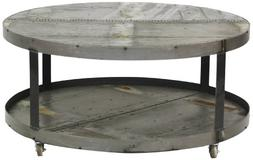 Zentique Recycled Metal Round Coffee Table on Wheel