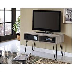 Pemberly Row Retro 42 Inch TV Stand in Sonoma Oak and Gunmet
