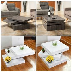 Modern Rotating Coffee Table Sofa Side End Table 3 Layers Sq
