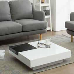 Rotating Coffee Table Square Storage Space for Living Room B