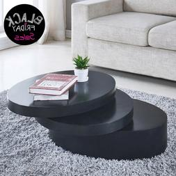 Round Black Coffee Table Rotating Contemporary 3 Layers Livi