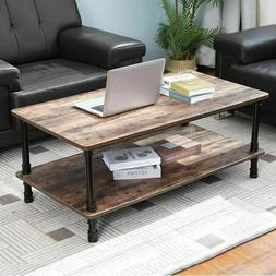 Coffee Table Tea Industrial Accent End Table with Storage Sh