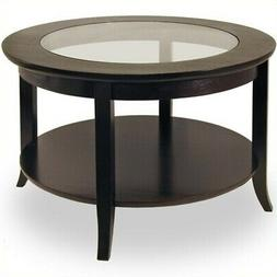 Round Coffee Table Glass Top Dark Espresso Finish Wood Livin