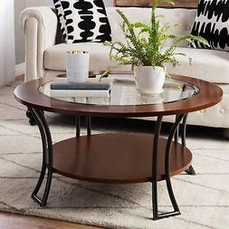 Round Coffee Table Modern Living Room Furniture Decor Walnut