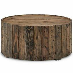 Beaumont Lane Round Coffee Table with Casters in Rustic Pine