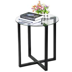 go2buy Small Round Glass Coffee End Table Metal Legs Sofa Si