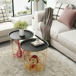 Round Metal Coffee Table With Storage Basket& Removable Tray