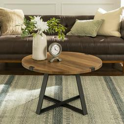 Coffee Table Round Rustic Reclaimed Farmhouse Industrial Woo