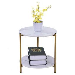 Round Side Table End Table Wood Coffee Tea Table Living Room