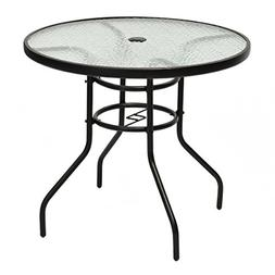 """Tangkula 31.5"""" Outdoor Patio Table Round Steel Frame Tempere"""