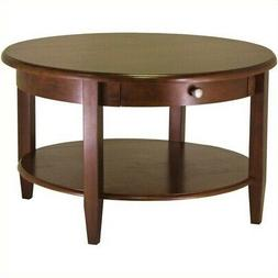 Wood Concord Round Coffee Table Drawer Open Bottom Shelf Sto