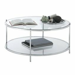 royal crest round glass coffee table in
