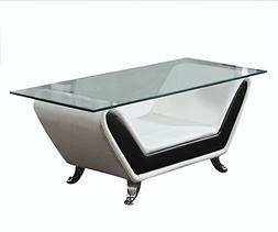 ACME Rozene White and Black Bonded Leather Coffee Table