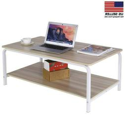 Rustic Coffee Table Tea End Table with Storage Shelf for Liv