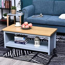 HomCom Rustic Coffee Table with Underneath Storage Shelf for