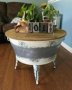 Rustic Farmhouse Lift Top Round Coffee Table For Living Room