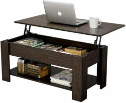 Rustic Lift Top Coffee Table w/Hidden Compartment&Storage Sh