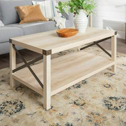 Rustic Modern Farmhouse Metal and Wood Rectangle Accent Coff