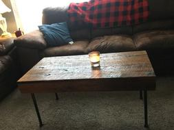 Rustic Reclaimed Oak Handmade Country Coffee Table - Hand Cr